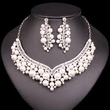 bridal jewelry fashion bridal jewelry sets imitation pearl statement necklace