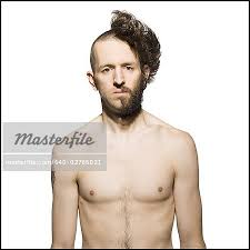 men half shave hair trends man with half shaved head and beard stock photo masterfile