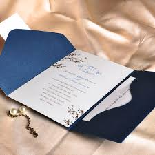 fancy wedding invitations floral decor monogram blue pocket discount wedding
