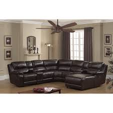 Brown Leather Sectional Sofas With Recliners Ac Pacific Colton Dark Brown Bonded Leather Recliner Sectional