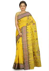 jamdani sharee handloom cotton jamdani saree in yellow spn3573