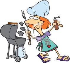 Backyard Clip Art Summer Cartoon Of A Mom Grilling In The Backyard Royalty Free