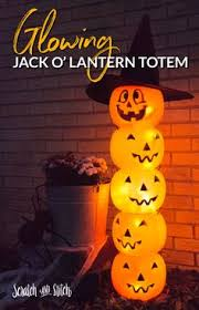 Halloween Supplies Weathered Plastic Pumpkin Totem Pole Easy Halloween Decorations