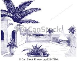 vector of sea view from house terrace on the beach sketch