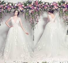 elie saab wedding dresses 2017 new deep v neck lace appliques