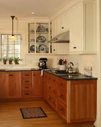 stained lower cabinets painted upper cabinets mixed upper and