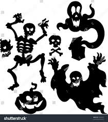 halloween silhouette clipart vector set halloween silhouettes 1 stock vector 39561367