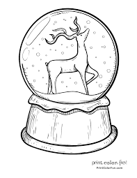 winter snow globe with a penguin coloring page print color fun