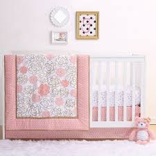 coral and gold floral bear 4 piece baby crib bedding set by belle