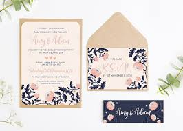 floral wedding invitations blush and navy floral wedding invitation bundle norma dorothy