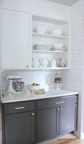 white and taupe lower kitchen cabinets kitchen cabinet colors before after the inspired room