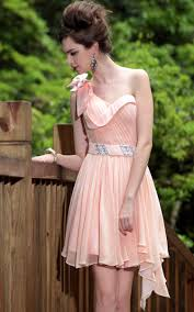 peach one shoulder pleats beaded prom ball cocktail party dress
