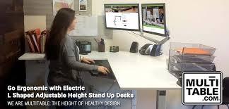 ergonomic electric l shaped stand up desks multitable