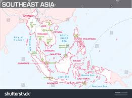 Southeastern Asia Map by Map Southeast Asia Stock Vector 33329866 Shutterstock