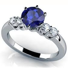 birthstone engagement rings blue sapphire engagement ring 14k white gold with diamonds