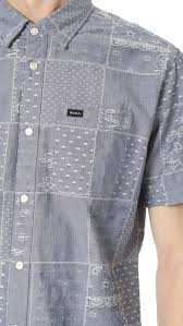 rvca that u0027ll do paisley short sleeve shirt in blue for men lyst