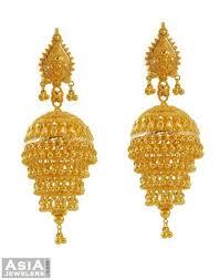 jhumki style earrings designer gold chandelier earrings 22k ajer52848 22k yellow