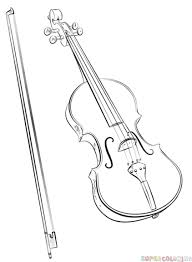 how to draw a violin and bow step by step drawing tutorials