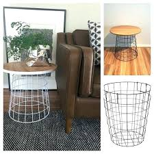 wire and wood basket side table side table with baskets medium size of side table with baskets