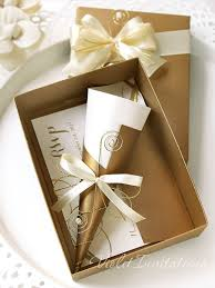 10 gold scroll boxed wedding invitations set by violetinvitations