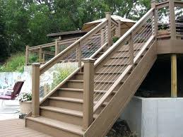 deck stair railing mixing wood with stainless steel cable infill