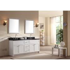 White Bathroom Vanity With Black Granite Top - ace 73 inch transitional double sink bathroom vanity set in white