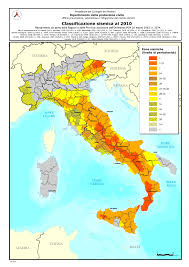 Map Of Italy And Spain by Seismic Classification Civil Protection Department