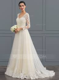wedding dresses gown v neck sweep tulle wedding dress 002124280