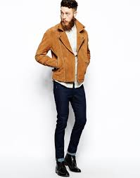mens brown leather biker boots asos suede biker jacket in brown for men lyst