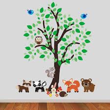 forest tree with woodland animals wall sticker by mirrorin forest tree with woodland animals wall sticker