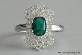 cushion cut emerald and diamond art deco vintage ring new zealand