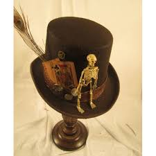 steunk s brown top hat with skeleton cards