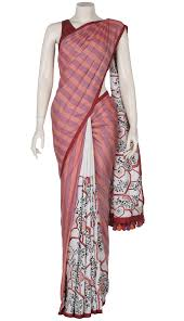 arong saree orange nakshi kantha embroidered striped silk saree