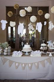 neutral baby shower decorations i like how classic it looks i don t about the items that are