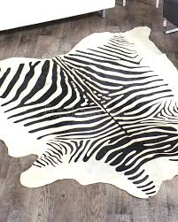 Zebra Print Area Rug 8x10 Cowhide Pattern Rug Best Quality Patchwork Brown And Beige