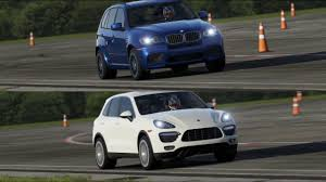porsche cayenne vs bmw x5 bmw x5 m vs porsche cayenne turbo top gear track