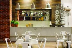 marvellous cafe kitchen idea with industrial lamp design feel