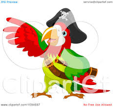 clipart parrot pirate lifting a wing royalty free vector