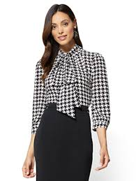 houndstooth blouse ny c 7th avenue bow accent mock neck blouse houndstooth