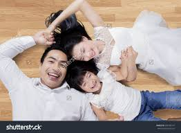 Asian Wooden Floor High Angle View Attractive Asian Family Stock Photo 599195141