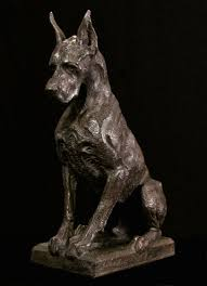 guard dog statue bronze sculpture by sculptor wesley wofford titled great dane