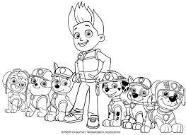 paw patrol team coloring