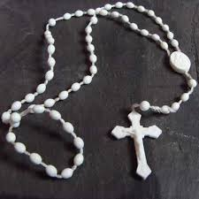 white rosary plastic prison issue rosary