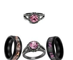 his and camo wedding rings his and black pink titanium camo cz sst 3pcs wedding