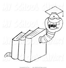 clip art of an outlined book worm in books with a graduation cap