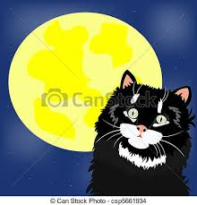 black cat and moon with eps vector search clip