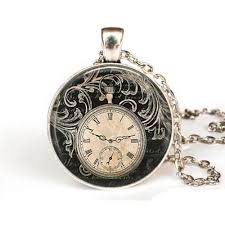 vintage necklace pocket watch images Steampunk vintage clock necklace round clock pocket watch pendant jpg