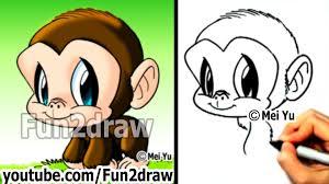 chimpanzee how to draw a monkey draw animals cute art