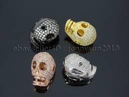 skull bracelet charm images Zircon gemstones pave four holes skull bracelet connector charm jpg