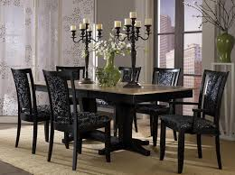 dark wood dining room tables red and cream wall painting white wood dining chairs with brown